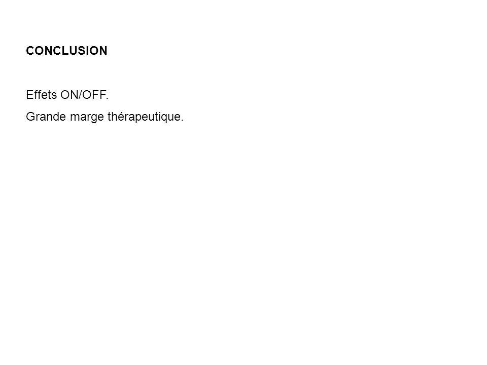 CONCLUSION Effets ON/OFF. Grande marge thérapeutique.