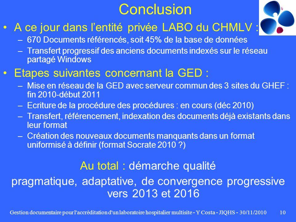 Gestion documentaire pour l'accréditation d'un laboratoire hospitalier multisite - Y Costa - JIQHS - 30/11/201010 Conclusion A ce jour dans lentité pr