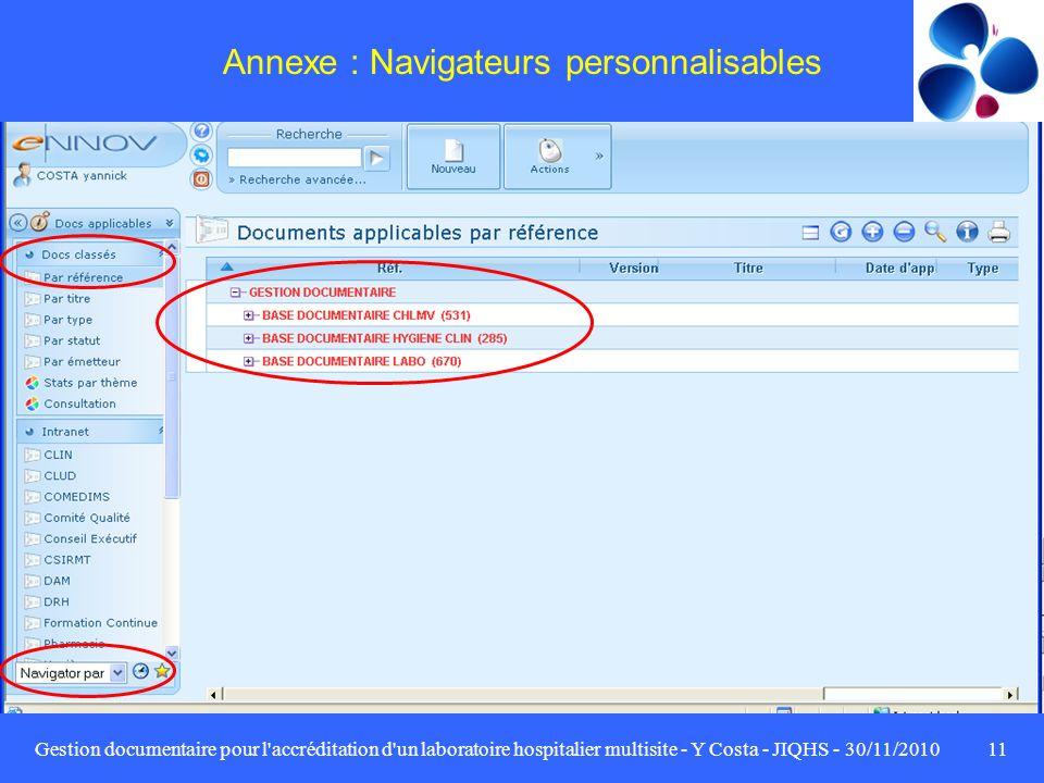 Gestion documentaire pour l'accréditation d'un laboratoire hospitalier multisite - Y Costa - JIQHS - 30/11/201011 Annexe : Navigateurs personnalisable