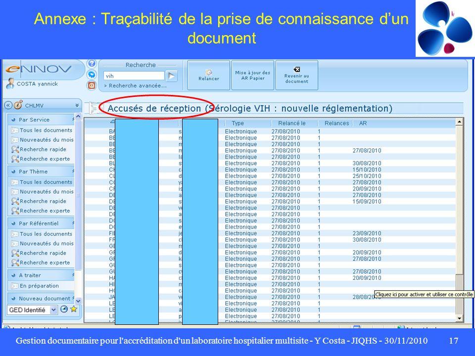 Gestion documentaire pour l'accréditation d'un laboratoire hospitalier multisite - Y Costa - JIQHS - 30/11/201017 Annexe : Traçabilité de la prise de