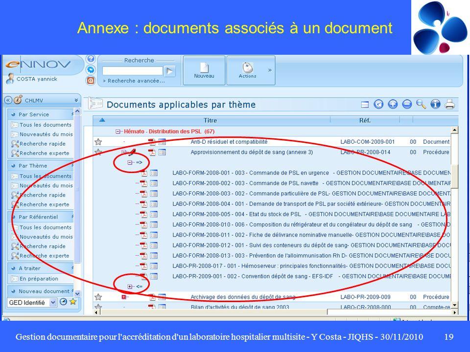 Gestion documentaire pour l'accréditation d'un laboratoire hospitalier multisite - Y Costa - JIQHS - 30/11/201019 Annexe : documents associés à un doc