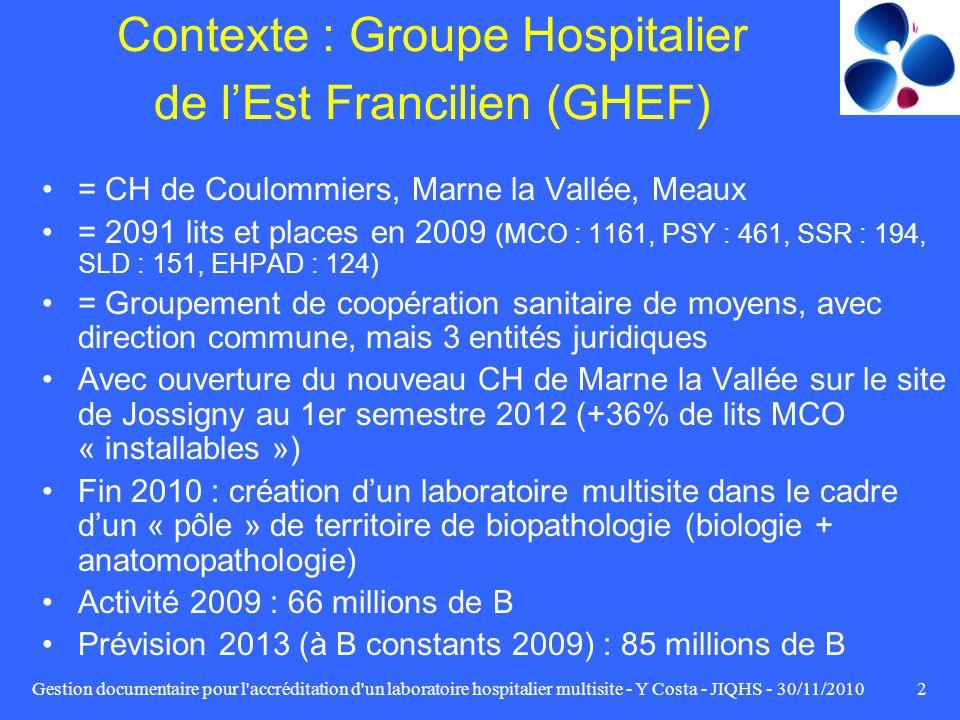 Gestion documentaire pour l'accréditation d'un laboratoire hospitalier multisite - Y Costa - JIQHS - 30/11/20102 Contexte : Groupe Hospitalier de lEst