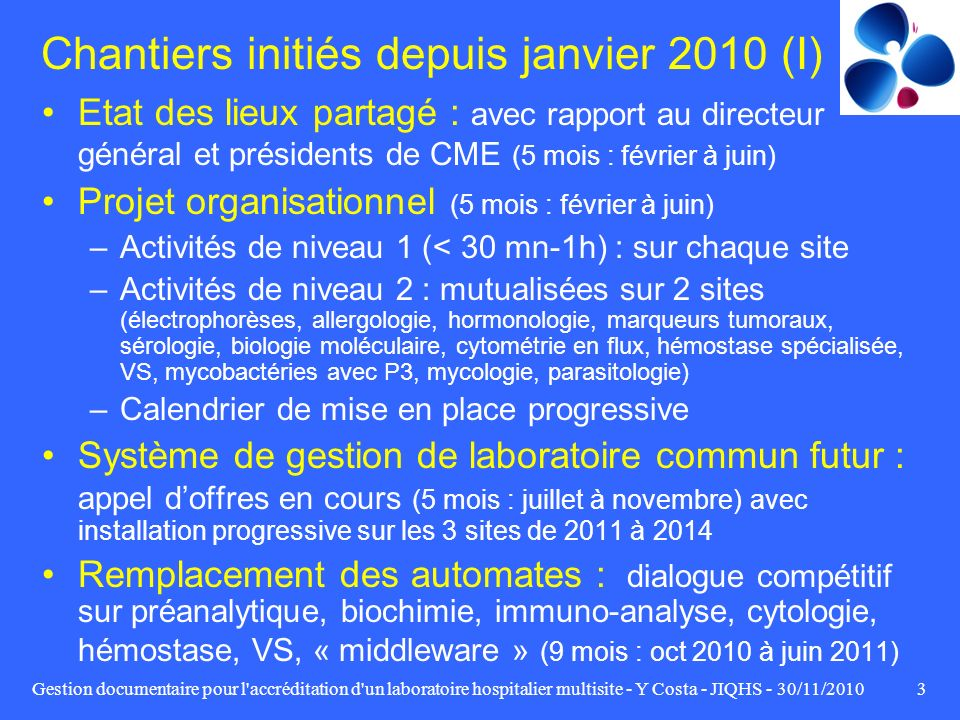Gestion documentaire pour l'accréditation d'un laboratoire hospitalier multisite - Y Costa - JIQHS - 30/11/20103 Chantiers initiés depuis janvier 2010