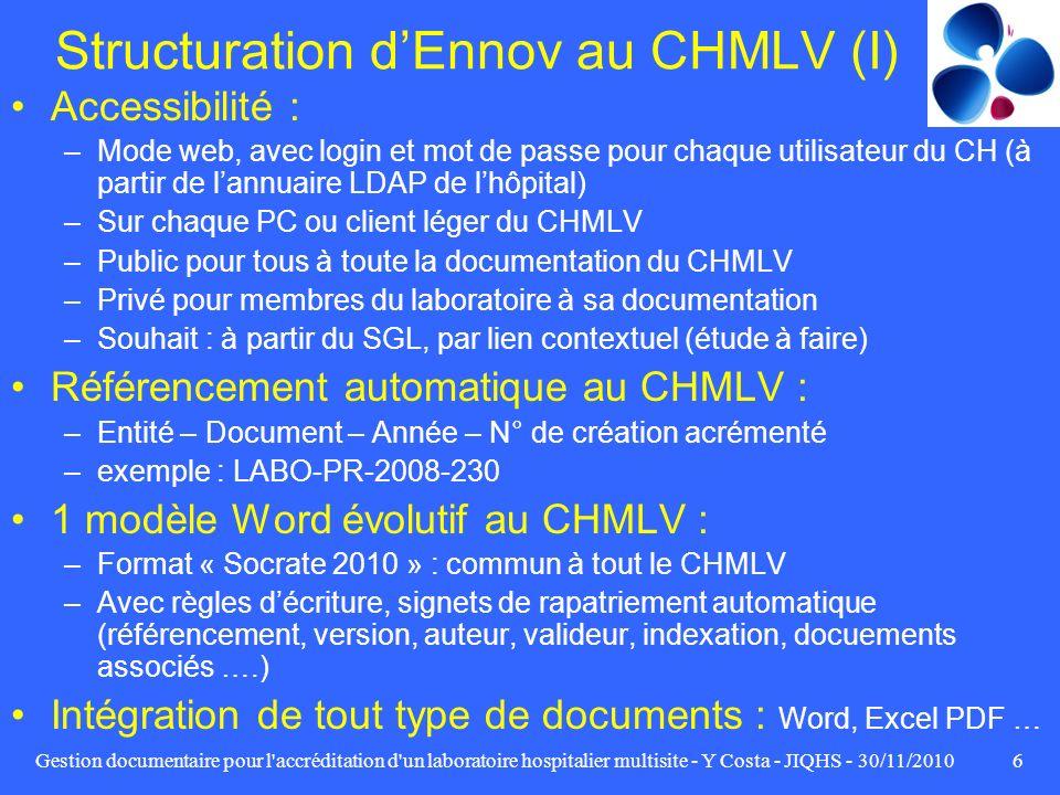 Gestion documentaire pour l'accréditation d'un laboratoire hospitalier multisite - Y Costa - JIQHS - 30/11/20106 Structuration dEnnov au CHMLV (I) Acc