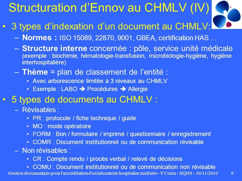 Gestion documentaire pour l'accréditation d'un laboratoire hospitalier multisite - Y Costa - JIQHS - 30/11/20109 Structuration dEnnov au CHMLV (IV) 3