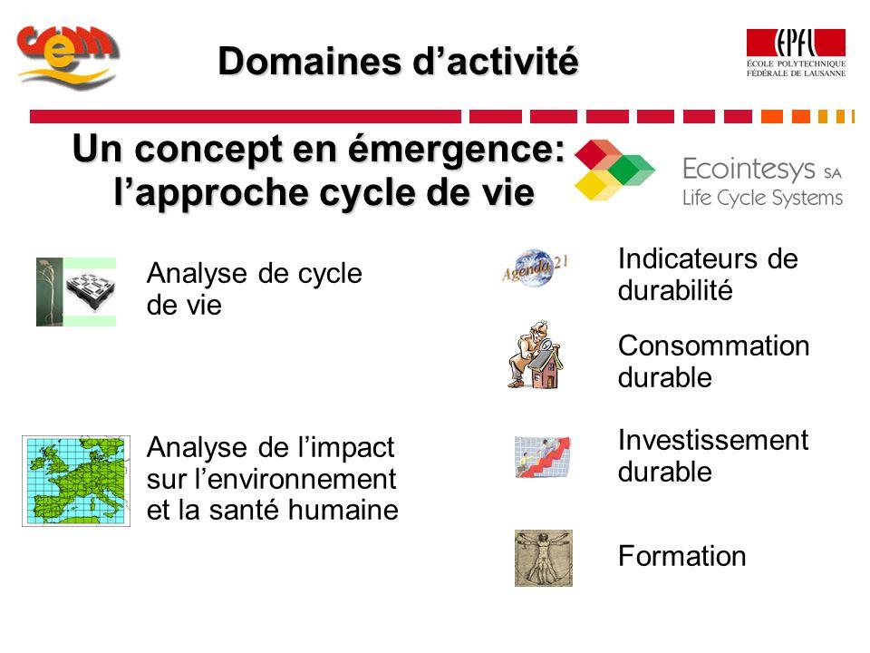 Domaines dactivité Analyse de limpact sur lenvironnement et la santé humaine Analyse de cycle de vie Indicateurs de durabilité Formation Un concept en