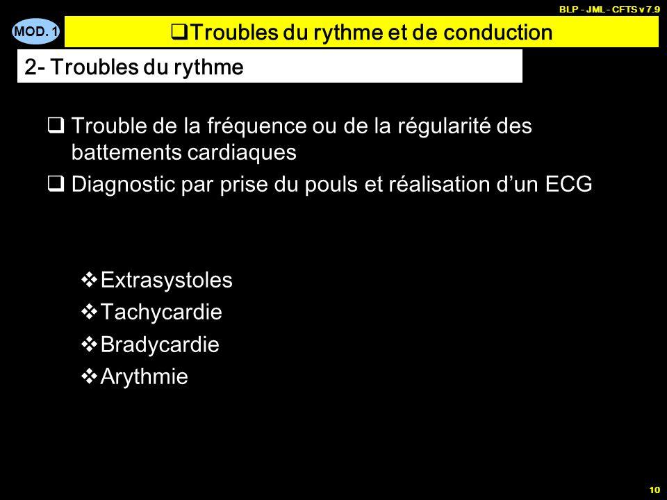 MOD. 1 BLP - JML - CFTS v 7.9 9 ECG Normal Troubles du rythme et de conduction 1- Fonctionnement électrique du cœur R Q T U P S mV + - P Onde PQ Espac