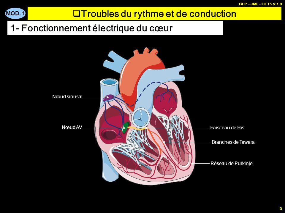 MOD. 1 BLP - JML - CFTS v 7.9 2 1- Fonctionnement électrique du cœur MUSCLE INERTE qui doit être soumis à une stimulation é lectrique CONTRACTIONS AUT