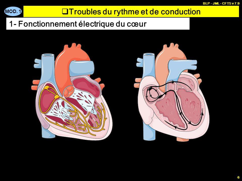 MOD. 1 BLP - JML - CFTS v 7.9 5 la branche droite parcourt le ventricule droit la branche gauche se divise presque immédiatement en 2 faisceaux antéri