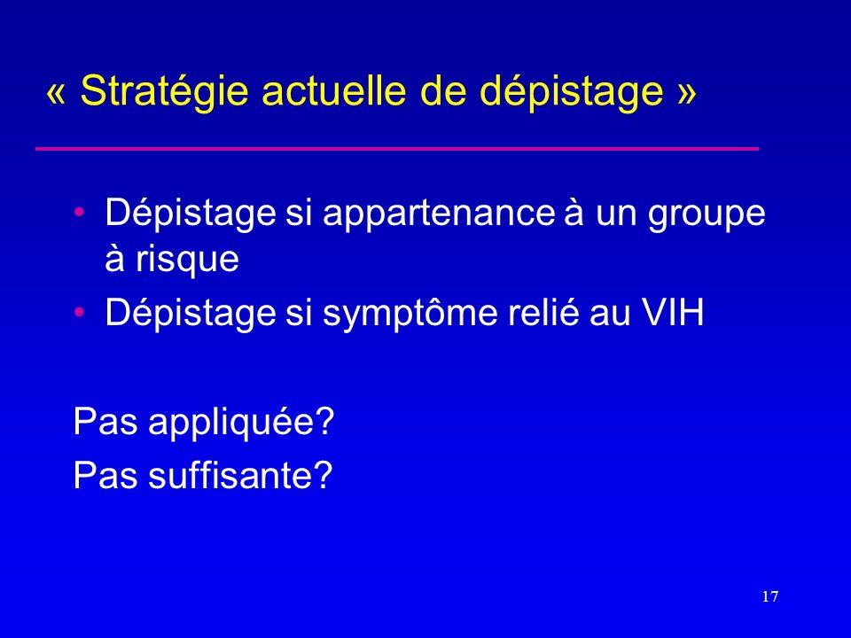 « Stratégie actuelle de dépistage » Dépistage si appartenance à un groupe à risque Dépistage si symptôme relié au VIH Pas appliquée? Pas suffisante? 1