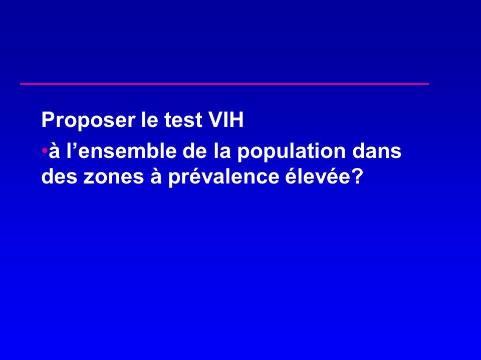 Proposer le test VIH à lensemble de la population dans des zones à prévalence élevée?