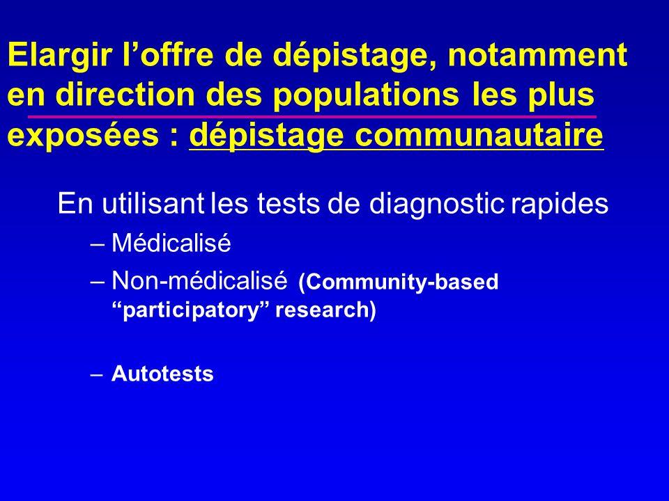 Elargir loffre de dépistage, notamment en direction des populations les plus exposées : dépistage communautaire En utilisant les tests de diagnostic r