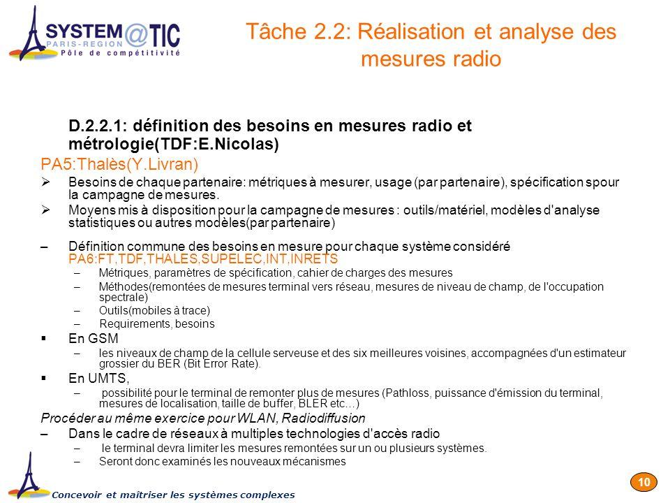 Concevoir et maîtriser les systèmes complexes 10 D.2.2.1: définition des besoins en mesures radio et métrologie(TDF:E.Nicolas) PA5:Thalès(Y.Livran) Be