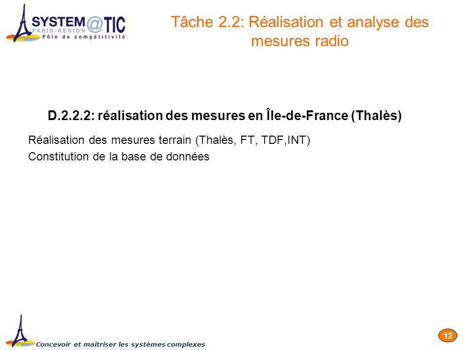 Concevoir et maîtriser les systèmes complexes 12 D.2.2.2: réalisation des mesures en Île-de-France (Thalès) Réalisation des mesures terrain (Thalès, F