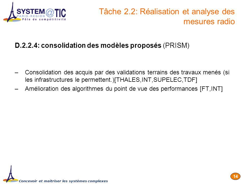 Concevoir et maîtriser les systèmes complexes 14 D.2.2.4: consolidation des modèles proposés (PRISM) –Consolidation des acquis par des validations ter