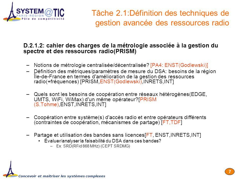 Concevoir et maîtriser les systèmes complexes 7 D.2.1.2: cahier des charges de la métrologie associée à la gestion du spectre et des ressources radio(