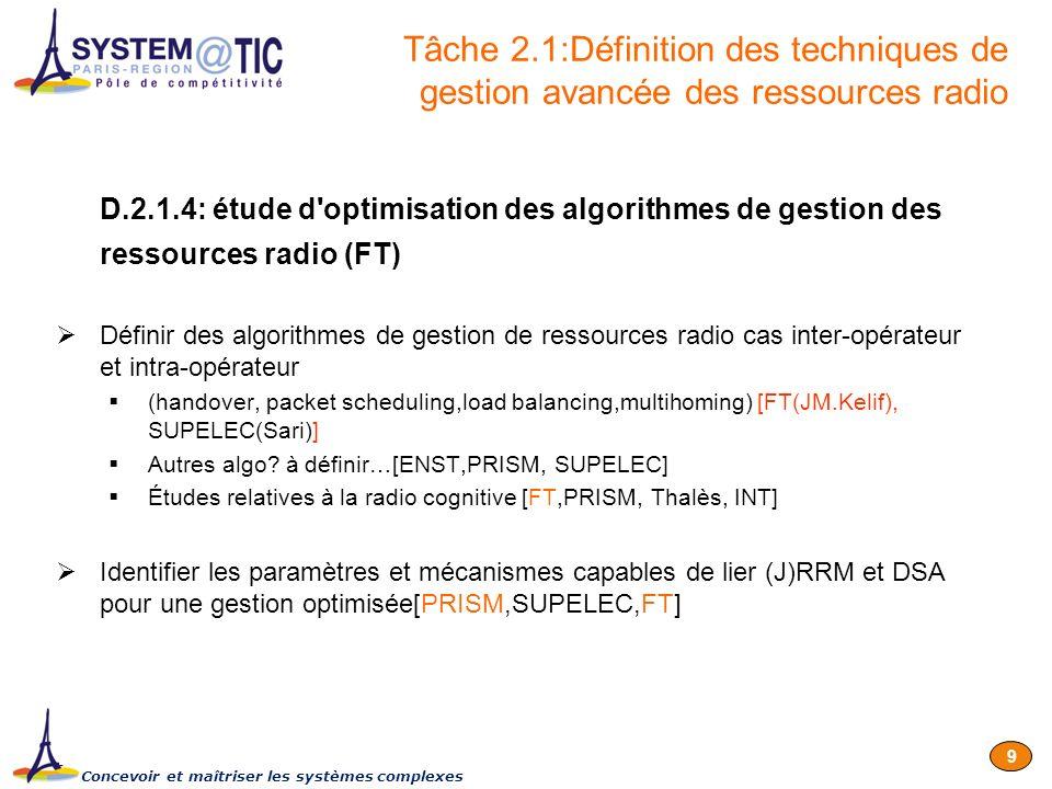 Concevoir et maîtriser les systèmes complexes 9 D.2.1.4: étude d'optimisation des algorithmes de gestion des ressources radio (FT) Définir des algorit