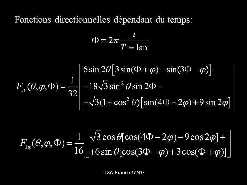 LISA-France 1/2/07 Fonctions directionnelles dépendant du temps: