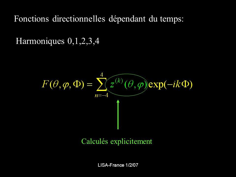 LISA-France 1/2/07 Fonctions directionnelles dépendant du temps: Harmoniques 0,1,2,3,4 Calculés explicitement