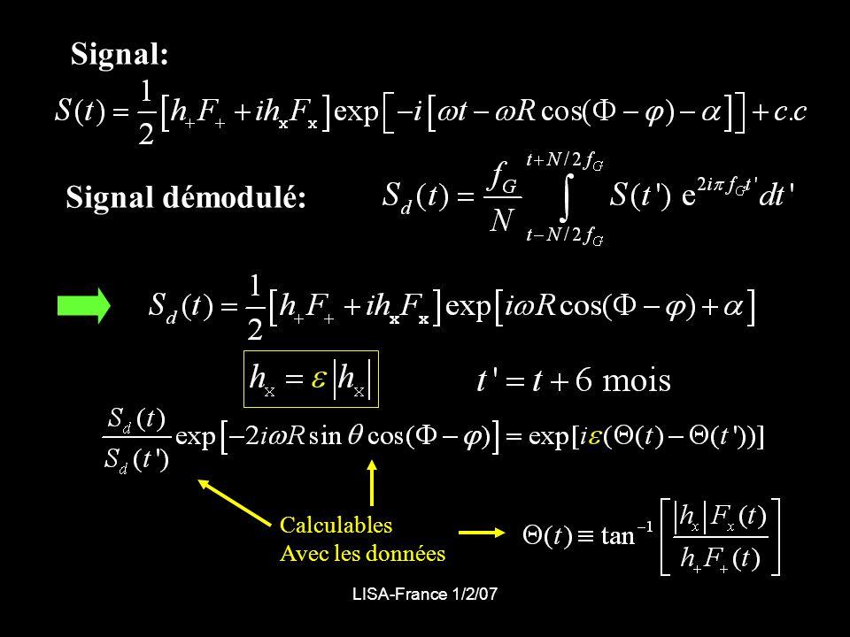 LISA-France 1/2/07 Signal: Signal démodulé: Calculables Avec les données