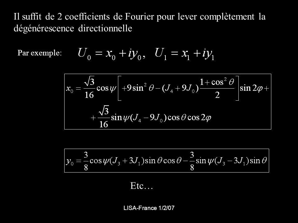 LISA-France 1/2/07 Il suffit de 2 coefficients de Fourier pour lever complètement la dégénérescence directionnelle Par exemple: Etc…