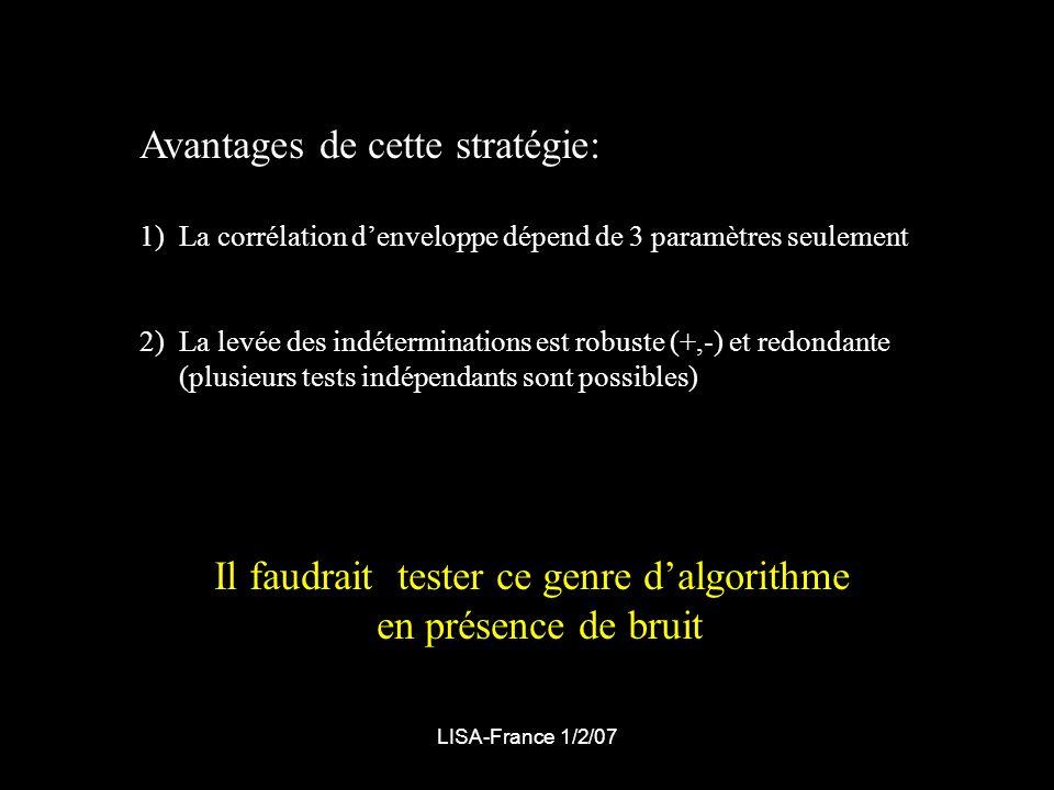 LISA-France 1/2/07 Avantages de cette stratégie: 1)La corrélation denveloppe dépend de 3 paramètres seulement 2)La levée des indéterminations est robuste (+,-) et redondante (plusieurs tests indépendants sont possibles) Il faudrait tester ce genre dalgorithme en présence de bruit