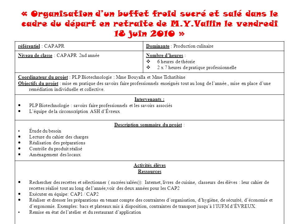 « Organisation dun buffet froid sucré et salé dans le cadre du départ en retraite de M.Y.Vallin le vendredi 18 juin 2010 » référentiel : CAP APRDomina