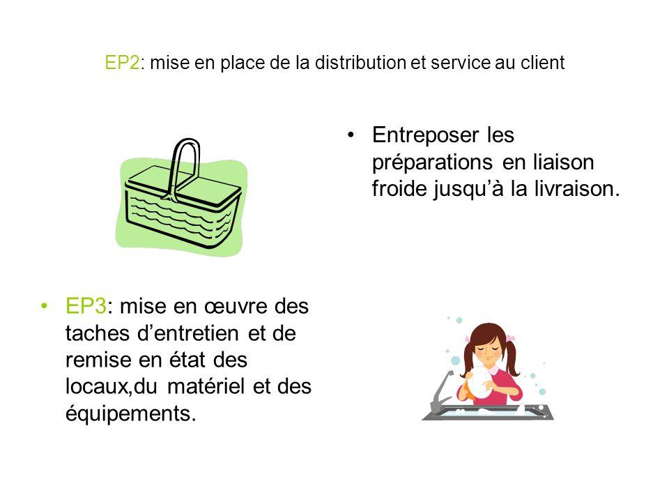 EP2: mise en place de la distribution et service au client Entreposer les préparations en liaison froide jusquà la livraison. EP3: mise en œuvre des t