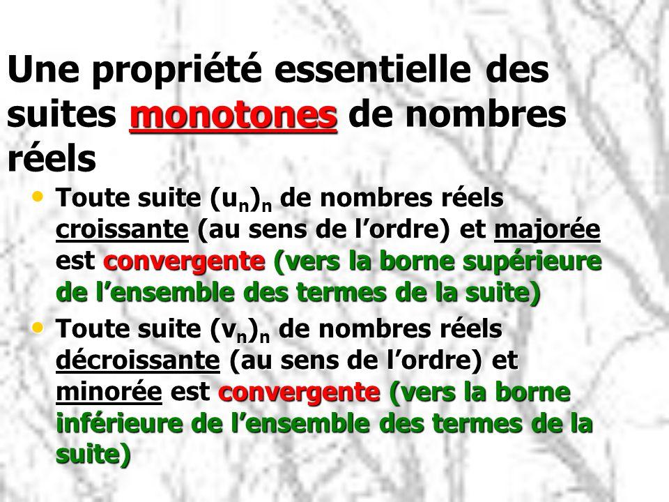 Une propriété essentielle des suites monotones de nombres réels Toute suite (u n ) n de nombres réels croissante (au sens de lordre) et majorée est convergente (vers la borne supérieure de lensemble des termes de la suite) Toute suite (u n ) n de nombres réels croissante (au sens de lordre) et majorée est convergente (vers la borne supérieure de lensemble des termes de la suite) Toute suite (v n ) n de nombres réels décroissante (au sens de lordre) et minorée est convergente (vers la borne inférieure de lensemble des termes de la suite) Toute suite (v n ) n de nombres réels décroissante (au sens de lordre) et minorée est convergente (vers la borne inférieure de lensemble des termes de la suite)