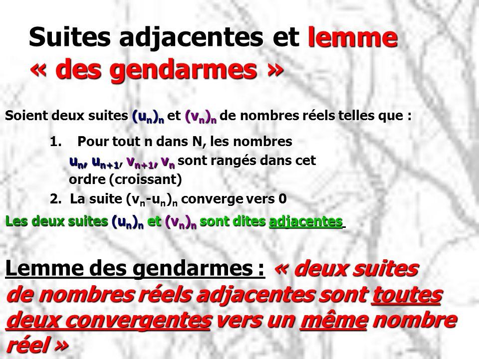 Suites adjacentes et lemme « des gendarmes » 1.Pour tout n dans N, les nombres u n, u n+1, v n+1, v n sont rangés dans cet u n, u n+1, v n+1, v n sont rangés dans cet ordre (croissant) ordre (croissant) 2.