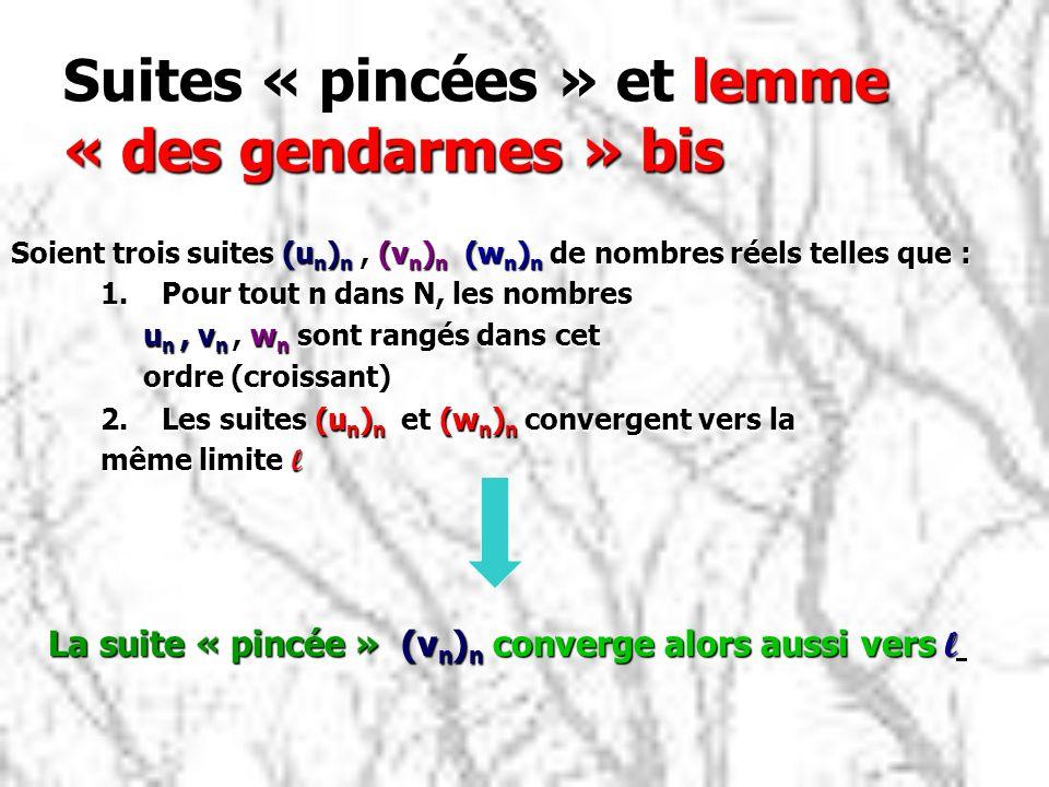 Suites « pincées » et lemme « des gendarmes » bis 1.Pour tout n dans N, les nombres u n, v n, w n sont rangés dans cet u n, v n, w n sont rangés dans cet ordre (croissant) ordre (croissant) 2.Les suites (u n ) n et (w n ) n convergent vers la même limite l Soient trois suites (u n ) n, (v n ) n (w n ) n de nombres réels telles que : La suite « pincée » (v n ) n converge alors aussi vers l