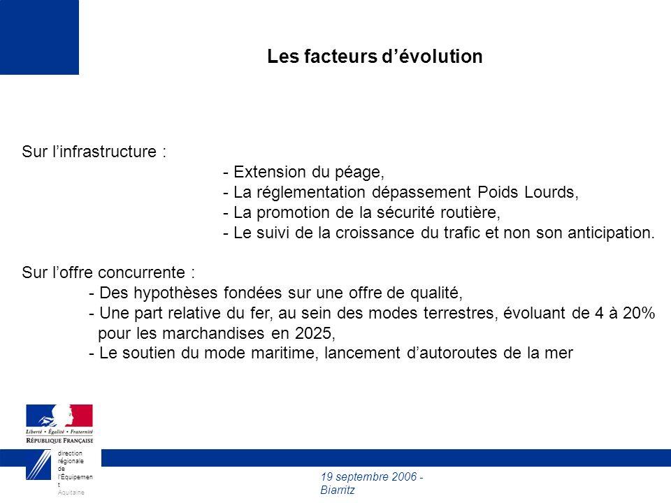19 septembre 2006 - Biarritz direction régionale de lÉquipemen t Aquitaine Sur linfrastructure : - Extension du péage, - La réglementation dépassement