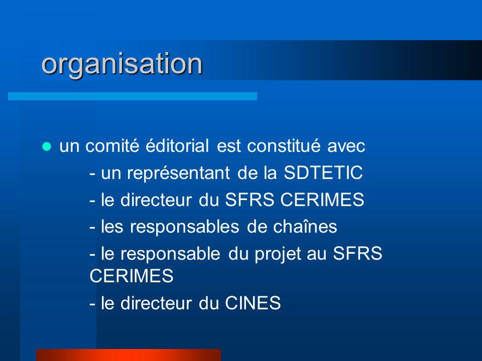 organisation un comité éditorial est constitué avec - un représentant de la SDTETIC - le directeur du SFRS CERIMES - les responsables de chaînes - le