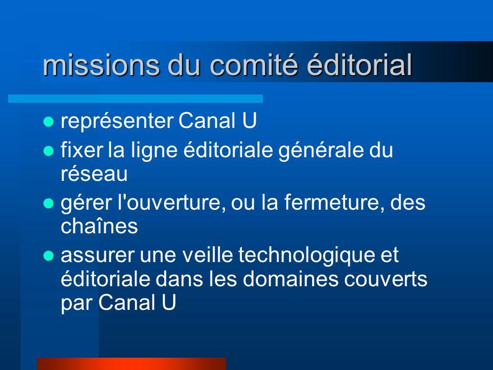 missions du comité éditorial représenter Canal U fixer la ligne éditoriale générale du réseau gérer l'ouverture, ou la fermeture, des chaînes assurer