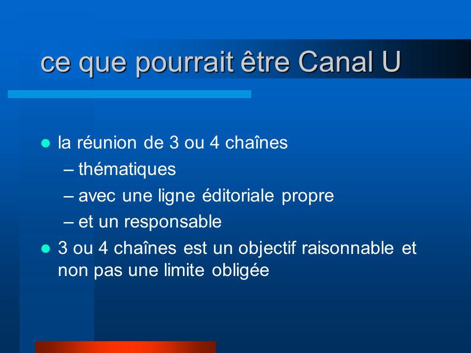 ce que pourrait être Canal U la réunion de 3 ou 4 chaînes –thématiques –avec une ligne éditoriale propre –et un responsable 3 ou 4 chaînes est un obje