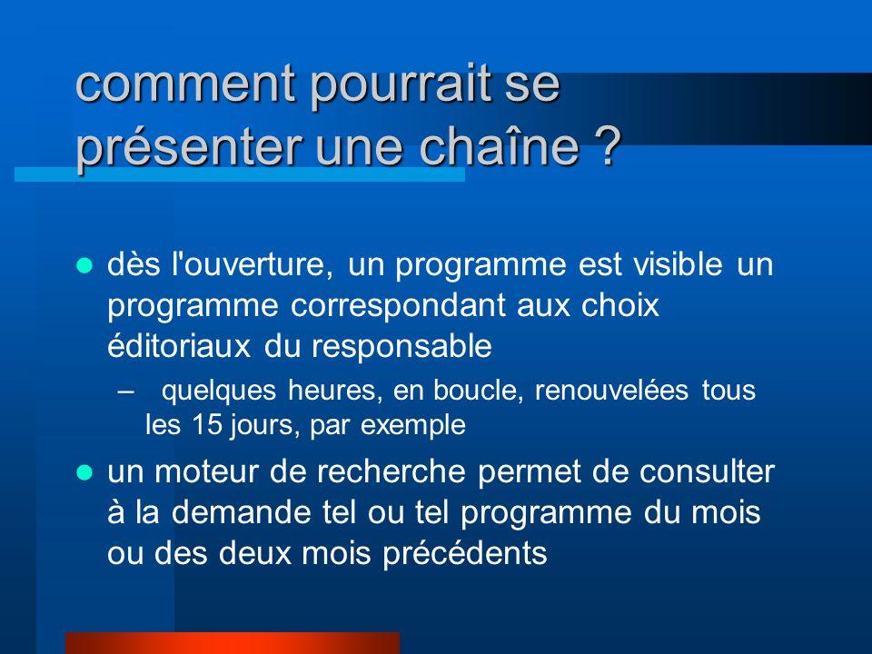 comment pourrait se présenter une chaîne ? dès l'ouverture, un programme est visible un programme correspondant aux choix éditoriaux du responsable –q