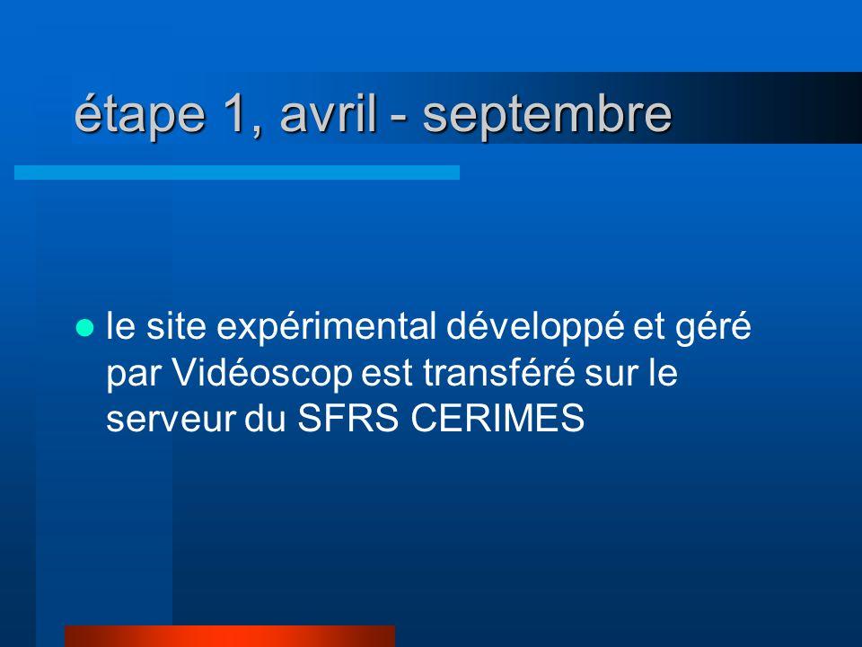 étape 1, avril - septembre le site expérimental développé et géré par Vidéoscop est transféré sur le serveur du SFRS CERIMES