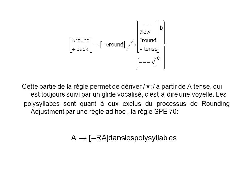 Cette partie de la règle permet de dériver / :/ à partir de A tense, qui est toujours suivi par un glide vocalisé, cest-à-dire une voyelle. Les polysy