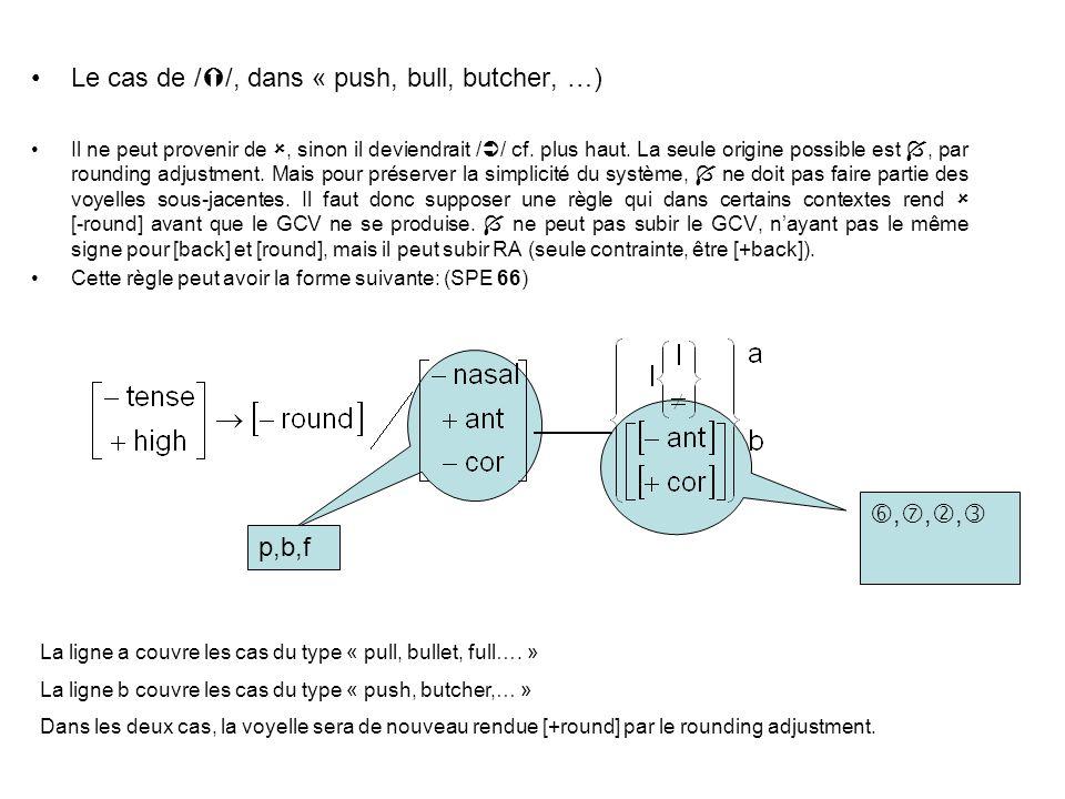 Le cas de / /, dans « push, bull, butcher, …) Il ne peut provenir de, sinon il deviendrait / / cf. plus haut. La seule origine possible est, par round