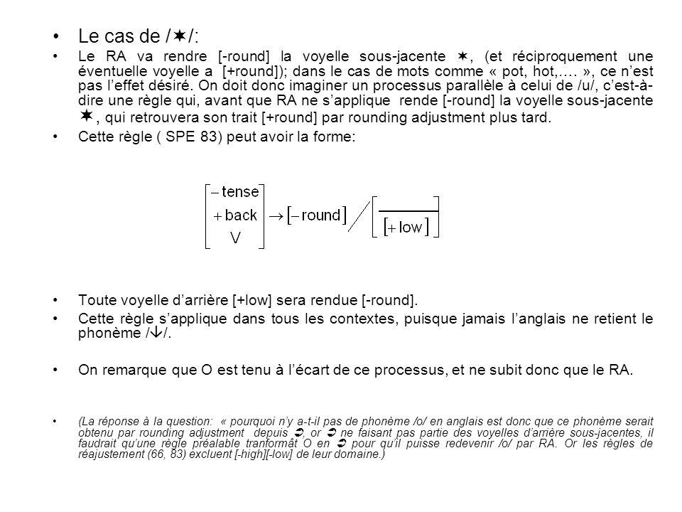 Le cas de / /: Le RA va rendre [-round] la voyelle sous-jacente, (et réciproquement une éventuelle voyelle a [+round]); dans le cas de mots comme « po
