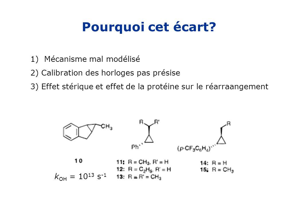 Pourquoi cet écart? 1)Mécanisme mal modélisé 2) Calibration des horloges pas présise 3) Effet stérique et effet de la protéine sur le réarraangement k