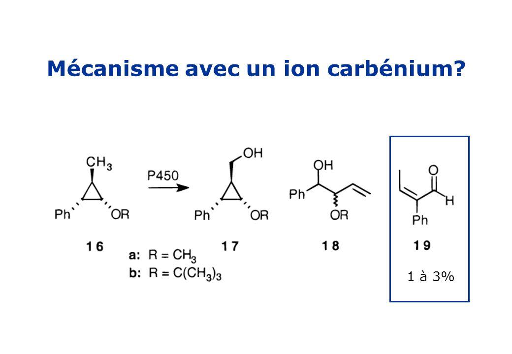 Mécanisme avec un ion carbénium? 1 à 3%
