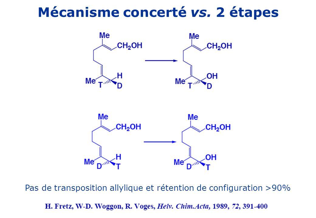 Mécanisme concerté vs. 2 étapes Pas de transposition allylique et rétention de configuration >90%