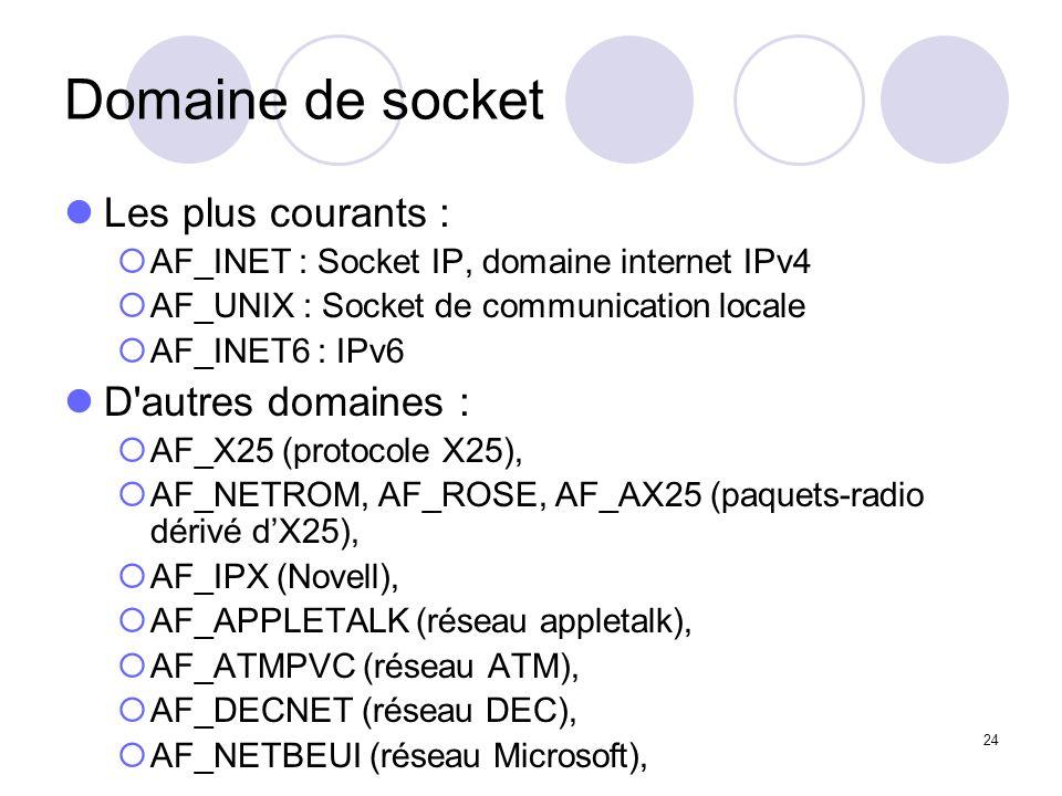 24 Domaine de socket Les plus courants : AF_INET : Socket IP, domaine internet IPv4 AF_UNIX : Socket de communication locale AF_INET6 : IPv6 D'autres