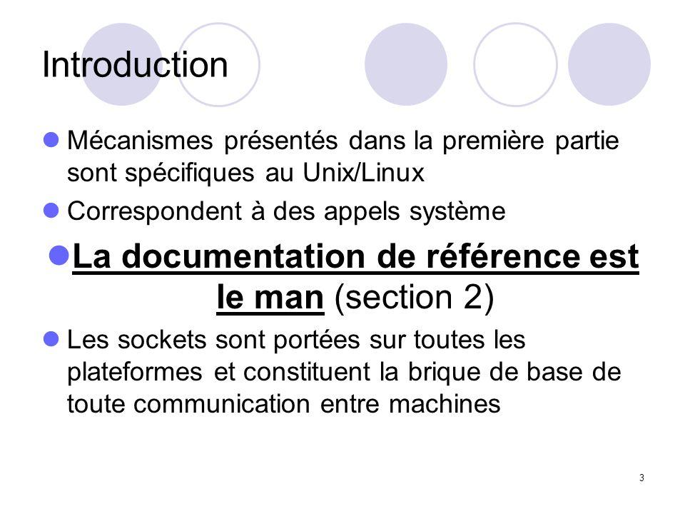 3 Introduction Mécanismes présentés dans la première partie sont spécifiques au Unix/Linux Correspondent à des appels système La documentation de réfé