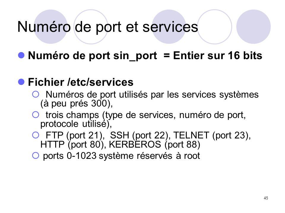 45 Numéro de port et services Numéro de port sin_port = Entier sur 16 bits Fichier /etc/services Numéros de port utilisés par les services systèmes (à