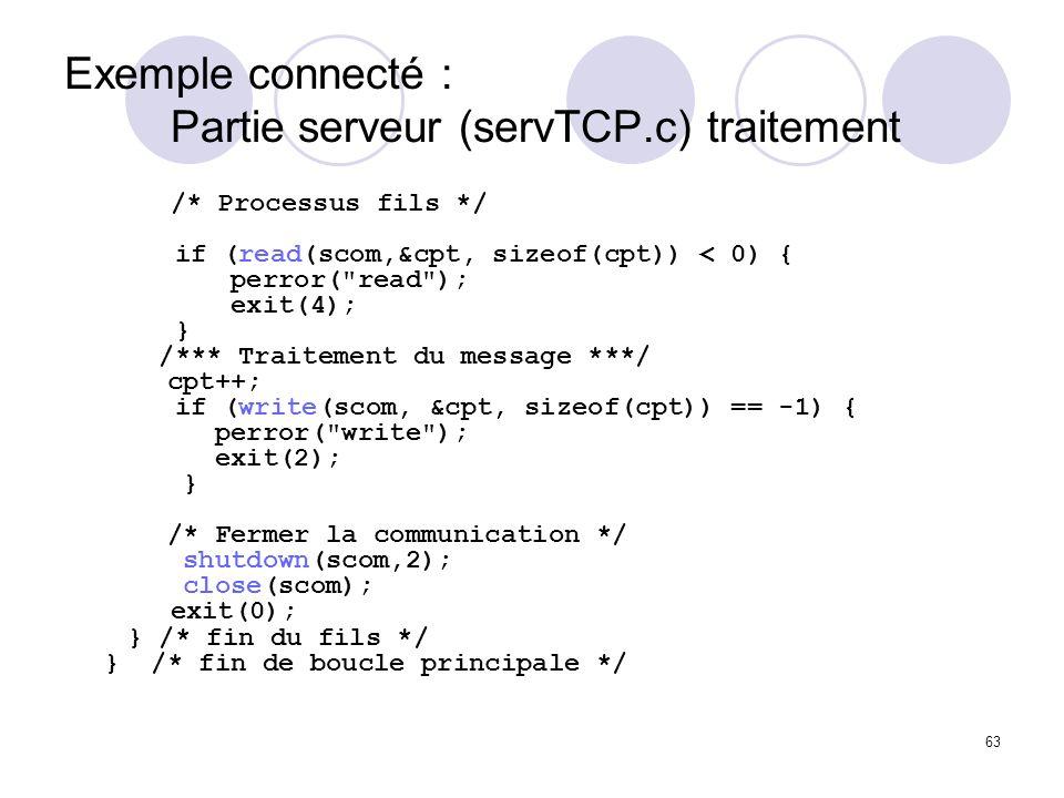 63 Exemple connecté : Partie serveur (servTCP.c) traitement /* Processus fils */ if (read(scom,&cpt, sizeof(cpt)) < 0) { perror(