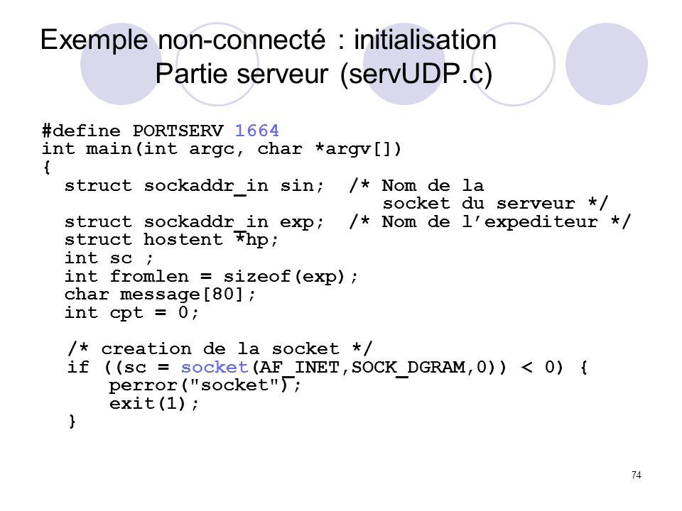 74 Exemple non-connecté : initialisation Partie serveur (servUDP.c) #define PORTSERV 1664 int main(int argc, char *argv[]) { struct sockaddr_in sin; /