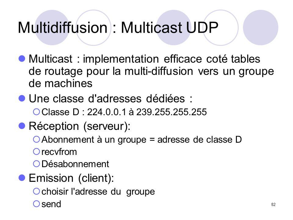 82 Multidiffusion : Multicast UDP Multicast : implementation efficace coté tables de routage pour la multi-diffusion vers un groupe de machines Une cl
