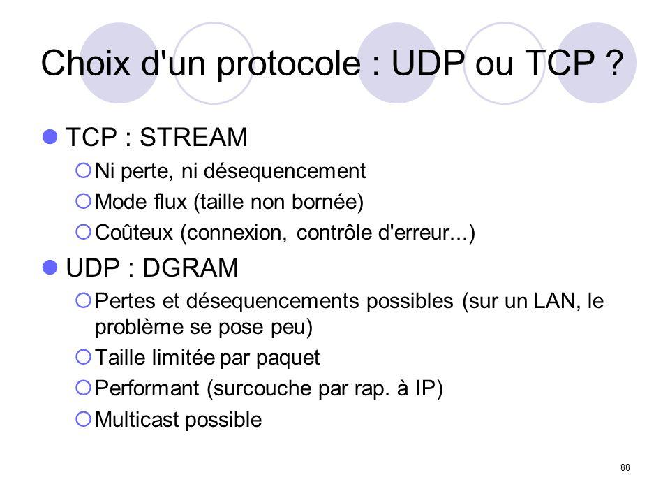 88 Choix d'un protocole : UDP ou TCP ? TCP : STREAM Ni perte, ni désequencement Mode flux (taille non bornée) Coûteux (connexion, contrôle d'erreur...